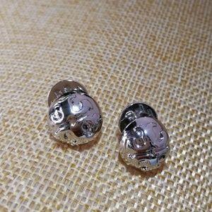 New Tory Burch Domed Logo Stud Earrings Silver